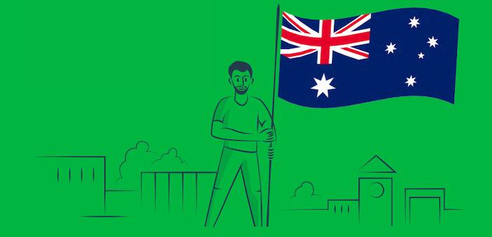 Illustrated person holding Australian flag